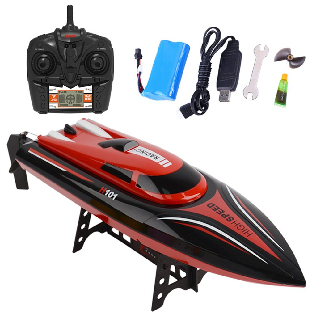 H101 Speed Boat 2.4GHz 4CH RC Remote Control High Speed Boat Racing with LCD Display Toys Gift for C