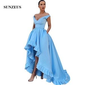 Sky Blue Satin Prom Gowns 2020 Short Front Long Back Party Dresses With Ruffles Women Off Shoulder Prom Dress Simple Robe