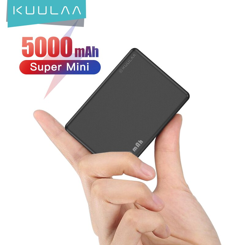 KUULAA Mini Power Bank 5000mAh Portable Charging PowerBank 5000 mAh USB PoverBank External Battery C