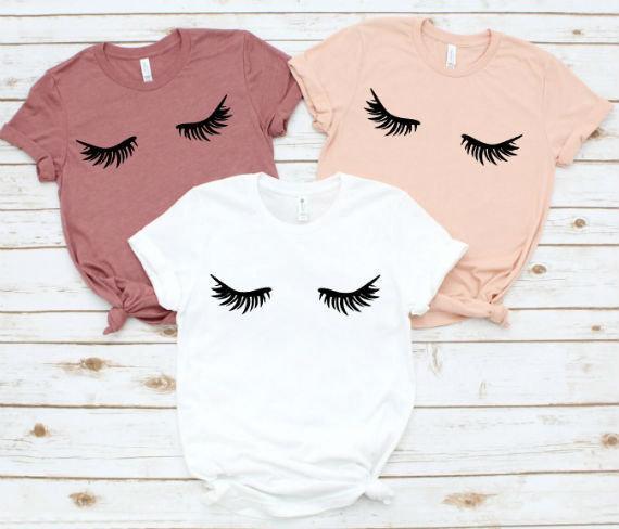 Rzęsy t-shirt z nadrukiem na co dzień z krótkim rękawem lato kobiet Top śliczne harajuku dla kobiet Femme T Shirt Drop Ship 2019 duży rozmiar