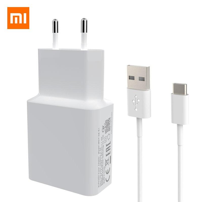 Xiaomi-Adaptador de carga de viaje, Cable de datos USB tipo-c QC 3,0, 2,5 a, 9V/2A, rápido, para Mi 5 6 8, Redmi Note 7