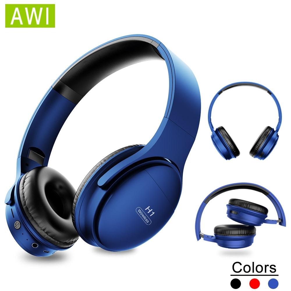 Auriculares inalámbricos Bluetooth AWI H1, auriculares estéreo con cancelación de ruido, auriculares con micrófono para juegos, compatible con tarjeta TF