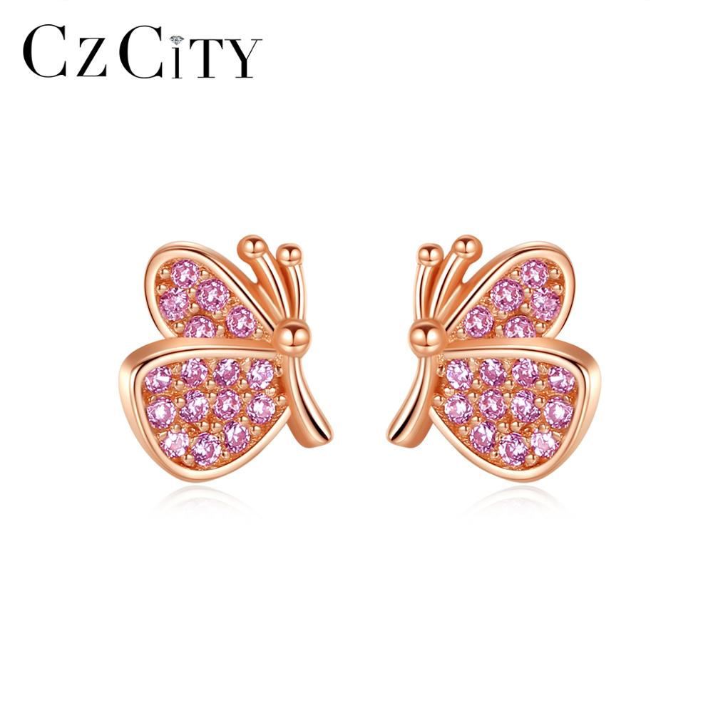 CZCITY Cute Butterfly Stud Earrings 925 Sterling Silver Lovely Animals CZ Earring Jewelry Gifts for