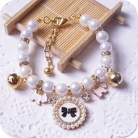 princess pearl pet necklace accessories for puppies dogs cats small animals wedding jewelry small puppy products for yorkshire