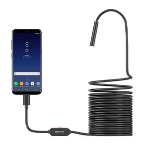 5.0MP Endoscope Camera Flexible IP67 Waterproof Micro USB Inspection Borescope Camera for Android PC Windows 6 LEDs Adjustable