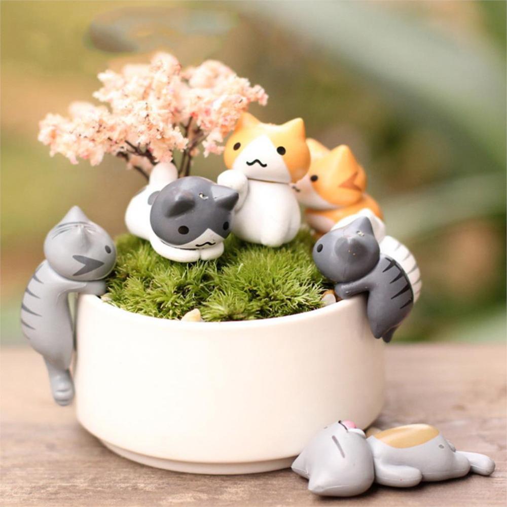 6 Pçs/set Micro Paisagem Decoração Preguiçoso Gato Gatinho Ornamento Artificial para Jardim Vaso Artesanato Mini