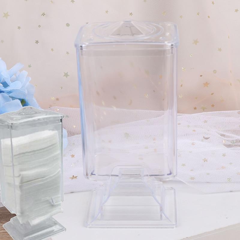 Prego arte removedor de papel limpar titular recipiente de armazenamento caso acrílico maquiagem algodão almofada caixa transparente compõem ferramentas estilo do prego