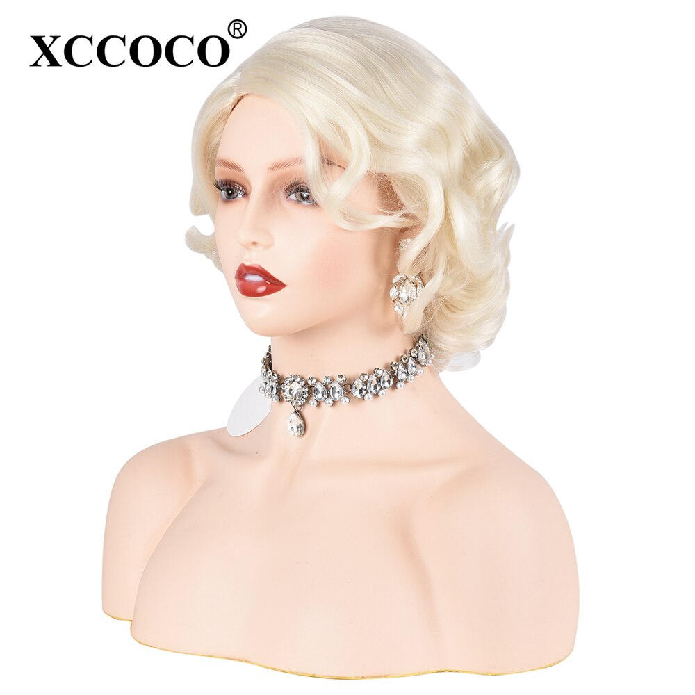 XCCOCO Short Wavy Bob Wigs For Women Blonde Marilyn Monroe Party Wigs Classic Synthetic Wigs Natural High Temperature Fiber