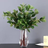 85cm green eucalyptus leaves artificial plant leaves with fruit eucalyptus hotel wedding home soft decoration flower ornaments