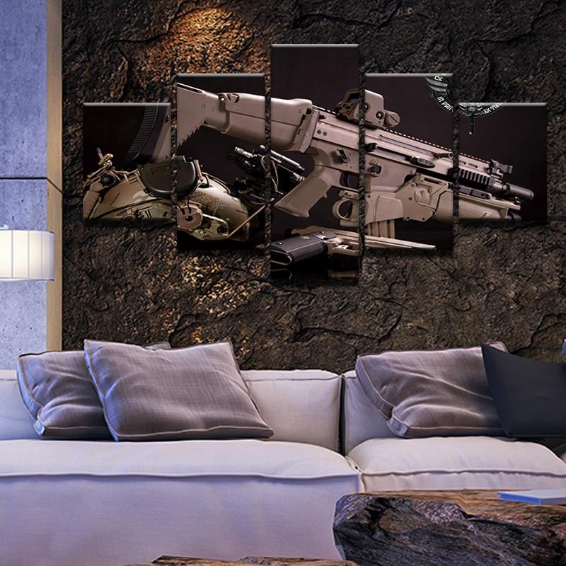 Pintura al óleo de lienzo sin marco para sala de estar con 5 aviones del ejército de armas militar