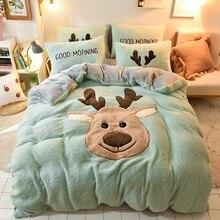 Dibujos animados de ciervos de Navidad bordado de terciopelo de franela juego de cama de niño bereber paño grueso y suave funda de edredón ropa de cama sábanas ajustadas fundas de almohada