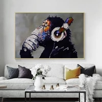 canvas paintings gorilla dj monkey wall art pictures for living room animal home deco posters and prints wall art picture