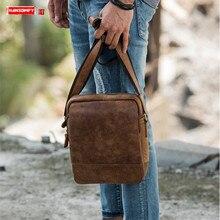 Retro Casual Leather Men's Bag Shoulder Messenger Bag Male Crossbodyr Bag Men Bags First Layer Leather Crazy Horse Leather Soft