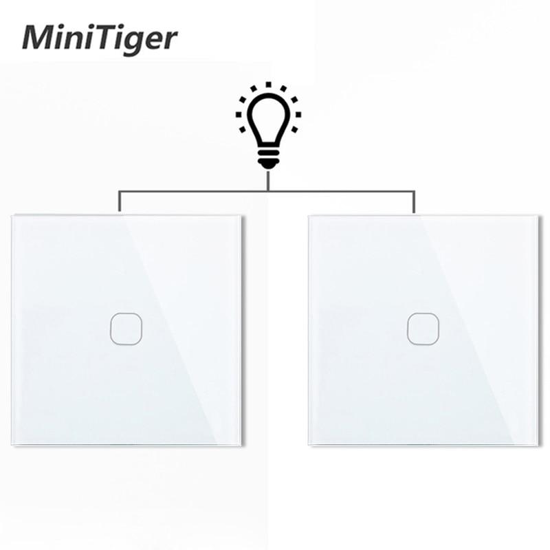 Minitiger الاتحاد الأوروبي 1 عصابة 2 طريقة الجدار ضوء تحكم أتمتة المنزل الذكي اللمس التبديل التبديل مقاوم للماء ومقاومة للحريق 2 قطعة/الحزمة
