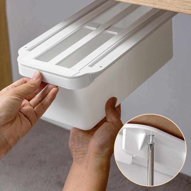 New Under Table Organizer Drawer Kitchen Cabinet Storage Box Punching Free Office Accessories Storage Shelf Space Saving Drawers