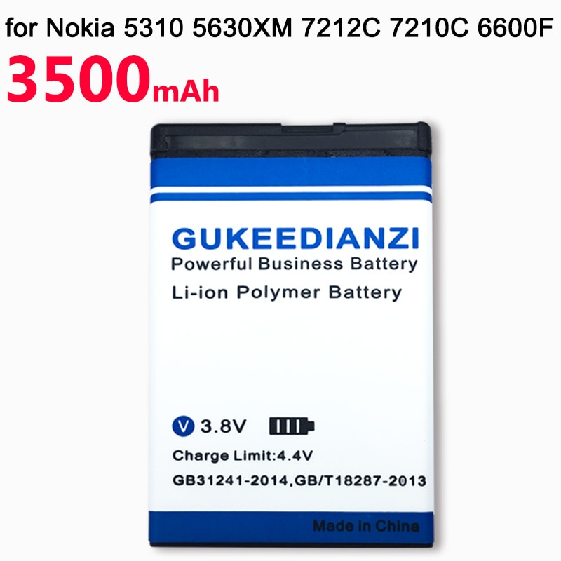 GUKEEDIANZI 3500mAh BL4CT BL-4CT BL 4CT teléfono batería recargable para Nokia 5630 7212C 7210C 7310C 7230 X3-00 2720F 670