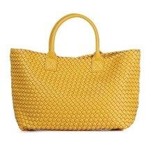 2020 New Fashion woven handbags shoulder bag large capacity bucket bag woven tote bag women leather handbags