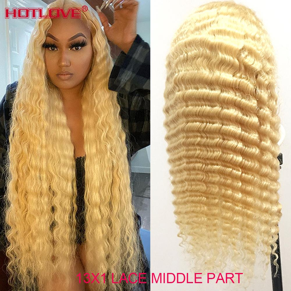 613 Honey Blonde 13x1 Lace Frontal Human Hair Wigs Brazilian Deep Wave Wigs Middle Part Lace Front W