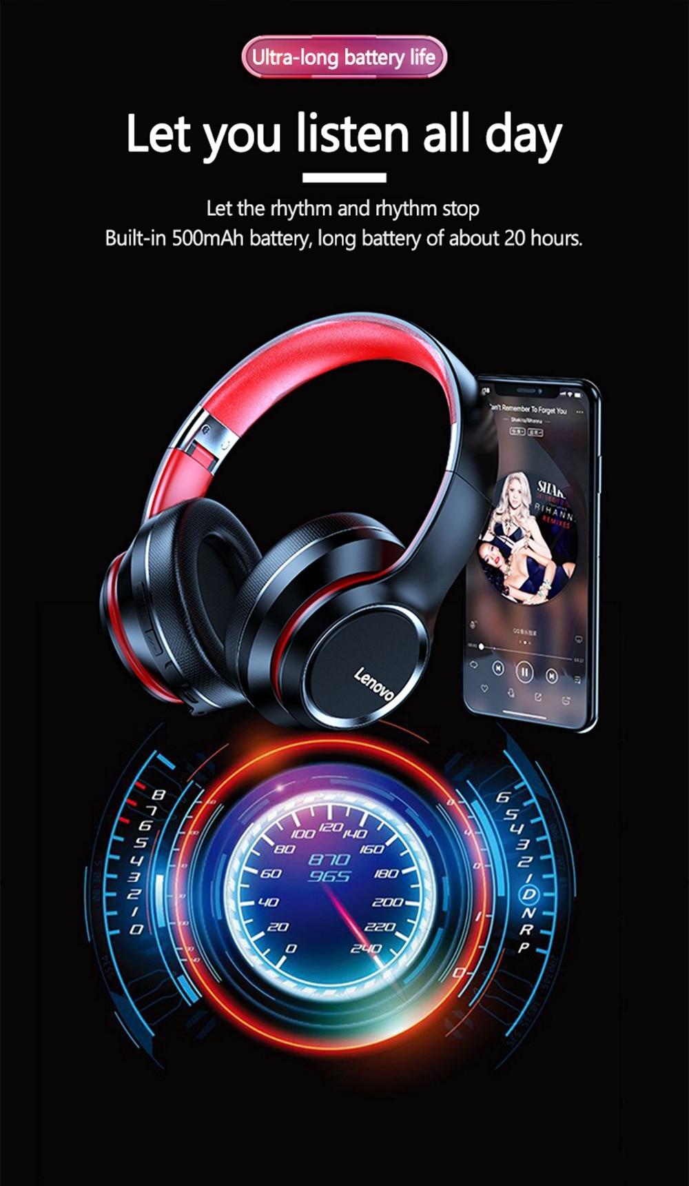 Lenovo HD200 Bluetooth Draadloze Stereo Hoofdtelefoon BT5.0 Lange Standby Leven Met Noise Cancelling Voor Xiaomi Iphone Lenovo Headset 16
