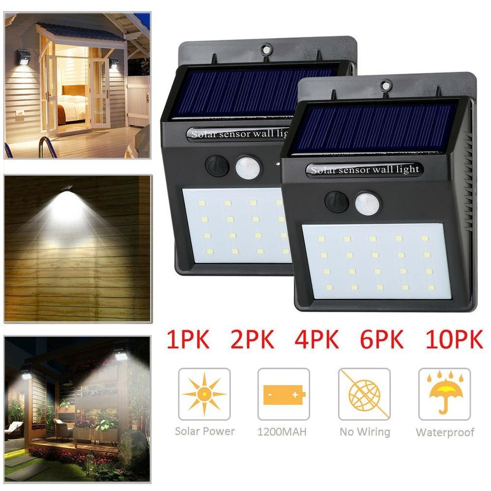 20 led ao ar livre lâmpada de parede solar sensor movimento à prova dwaterproof água luz jardim luz caminho segurança emergência 3 lados