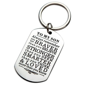 Inspirational Keychain Gifts To My Son Always Remember You Are Braver Than You Believe Key Ring Charm Family Gifts From Dad Mom