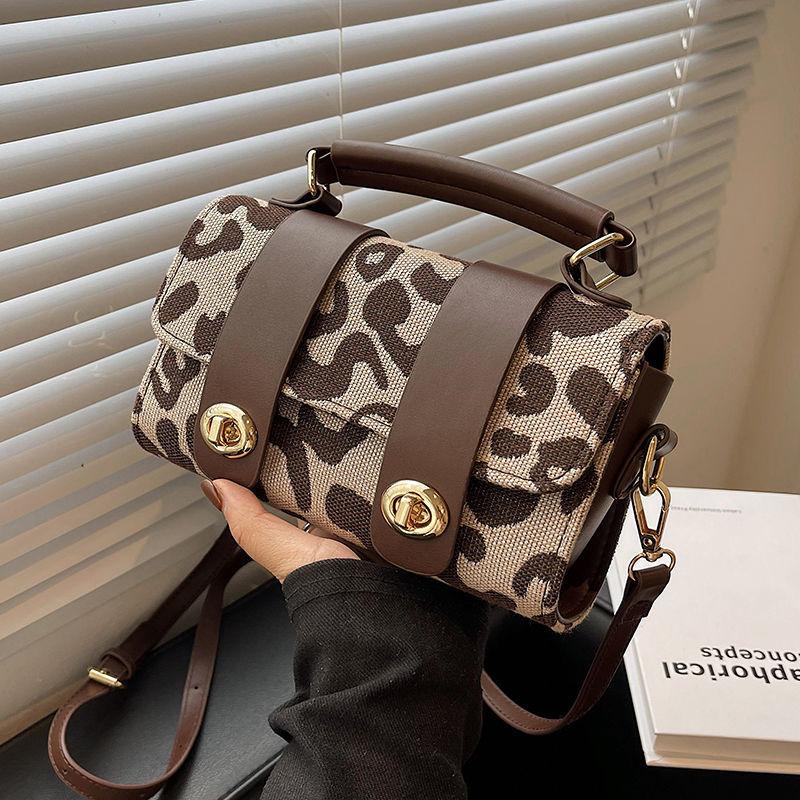 Fashion Leopard Print Canvas Small Flap Bags For Women Luxury Designer Handbags Autumn Winter New Fe
