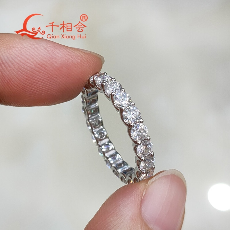 Promo 0.1ct  3mm round shape  white moissanite full of stone  band  ring  925 Sterling Silver Rings Jewelry Rings Engagement