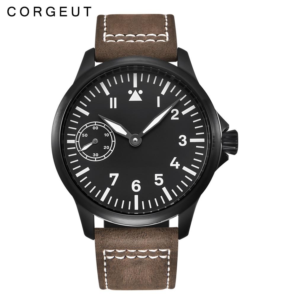 Cuerda manual Corgeut de 45mm reloj mecánico negro PVD 17 joyas Gaviota 6497 relojes mecánicos relojes de pulsera luminosos para hombres