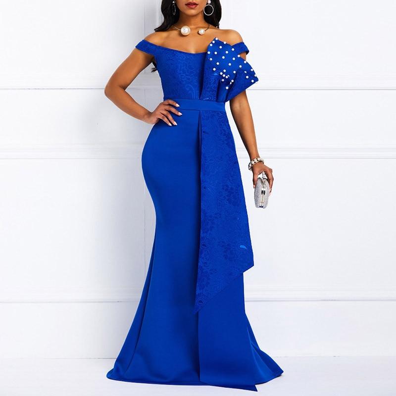 MD-vestido ceñido Sexy para mujer, elegante vestido africano con cuentas de sirena de encaje, vestidos largos de noche de fiesta, ropa de Año Nuevo 2021