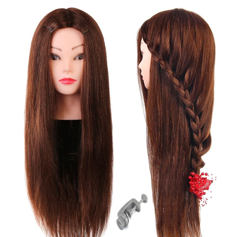Training Mannequin Head with 60% Real Human Brown Hair for Barber Hairdressing  Practice Doll Head for Hairstyles Styling
