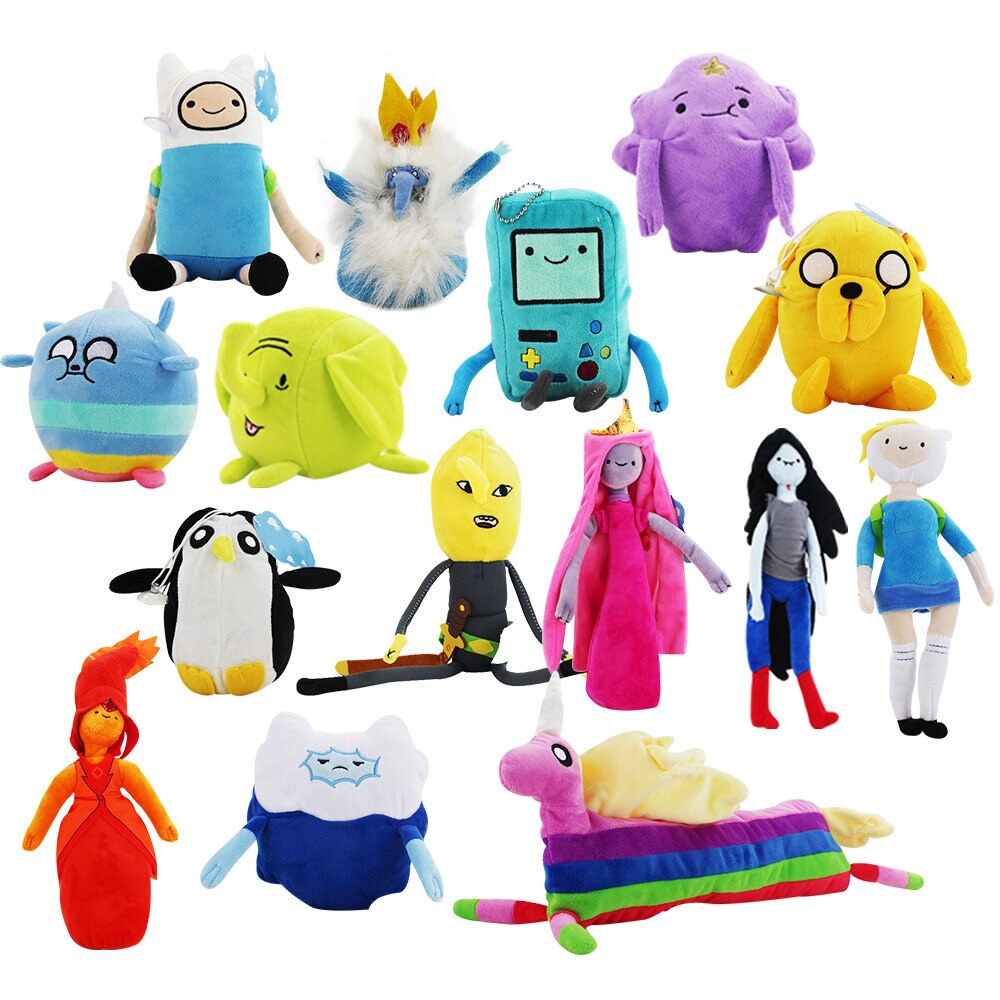 Gran promoción de dibujos animados Adventure time Jake felpa colgantes de juguete Finn Lumpy espacio princesa LemongrabLady Rainicorn llavero de muñeco