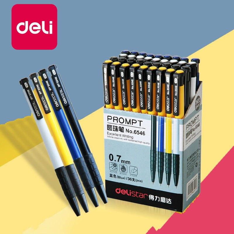Шариковая ручка Deli, 3 шт./лот, синий цвет, 0,7 мм, прессованная шариковая ручка, пластиковая шариковая ручка, школьные принадлежности, Канцтова...