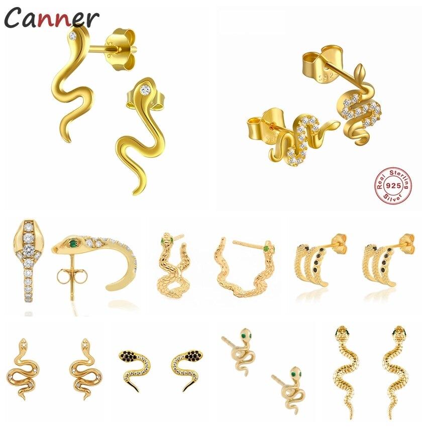 CANNER 925 Sterling Silver Stud Earrings for Women Men Snake Animal Gold Silver Earrings Jewelry Gifts 100% plata de ley 925 недорого