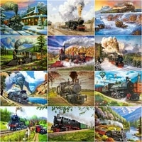 gatyztory 60%c3%9775cm frame train painting by numbers canvas colouring landscape handpainted artwork diy gift home wall decor
