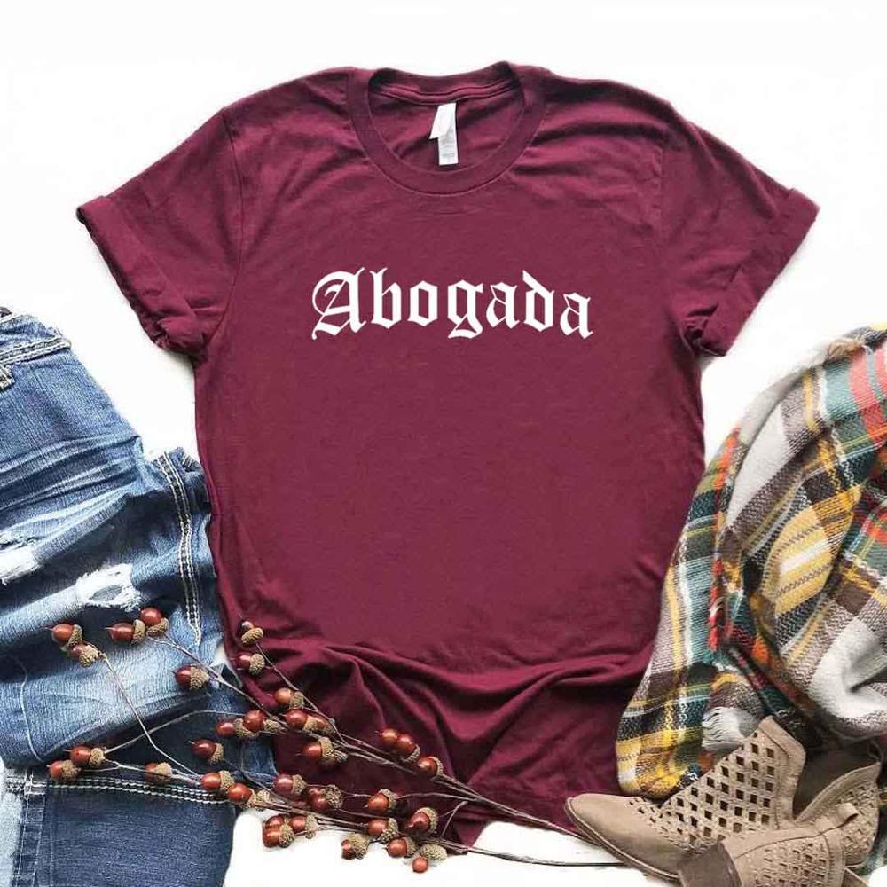 Abogada-camisetas con estampado de Latina para mujer, ropa divertida informal de algodón,...