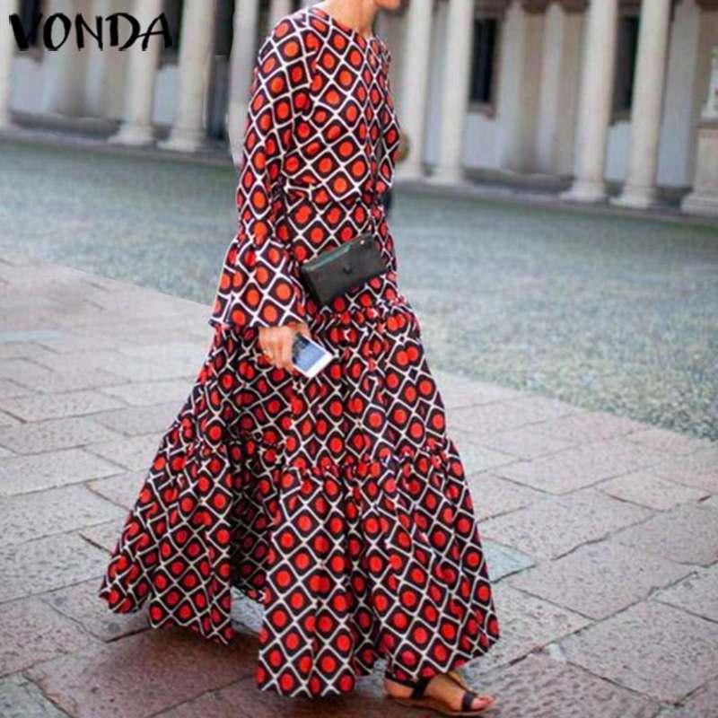 Vestido Maxi largo para mujer de VONDA, otoño 2020, Vestido de fiesta con estampado de manga larga, Vestido de talla grande, Vestido Vintage bohemio para mujer, Vestido veraniego de oficina