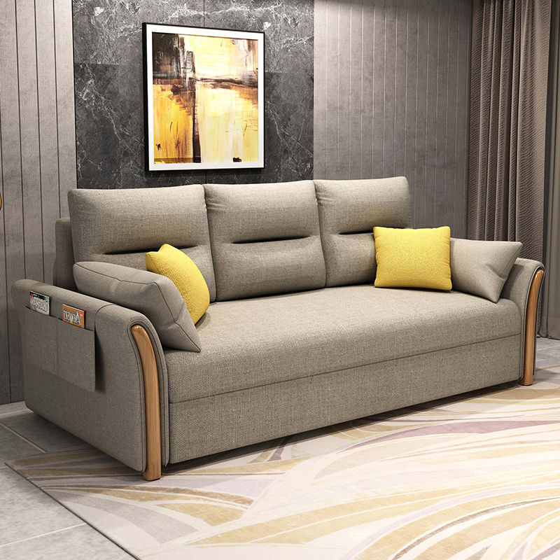 Chinafurniture الحديثة متعددة الوظائف النسيج طوي خشب متين أريكة سرير غرفة المعيشة شقة صغيرة الغرض المزدوج