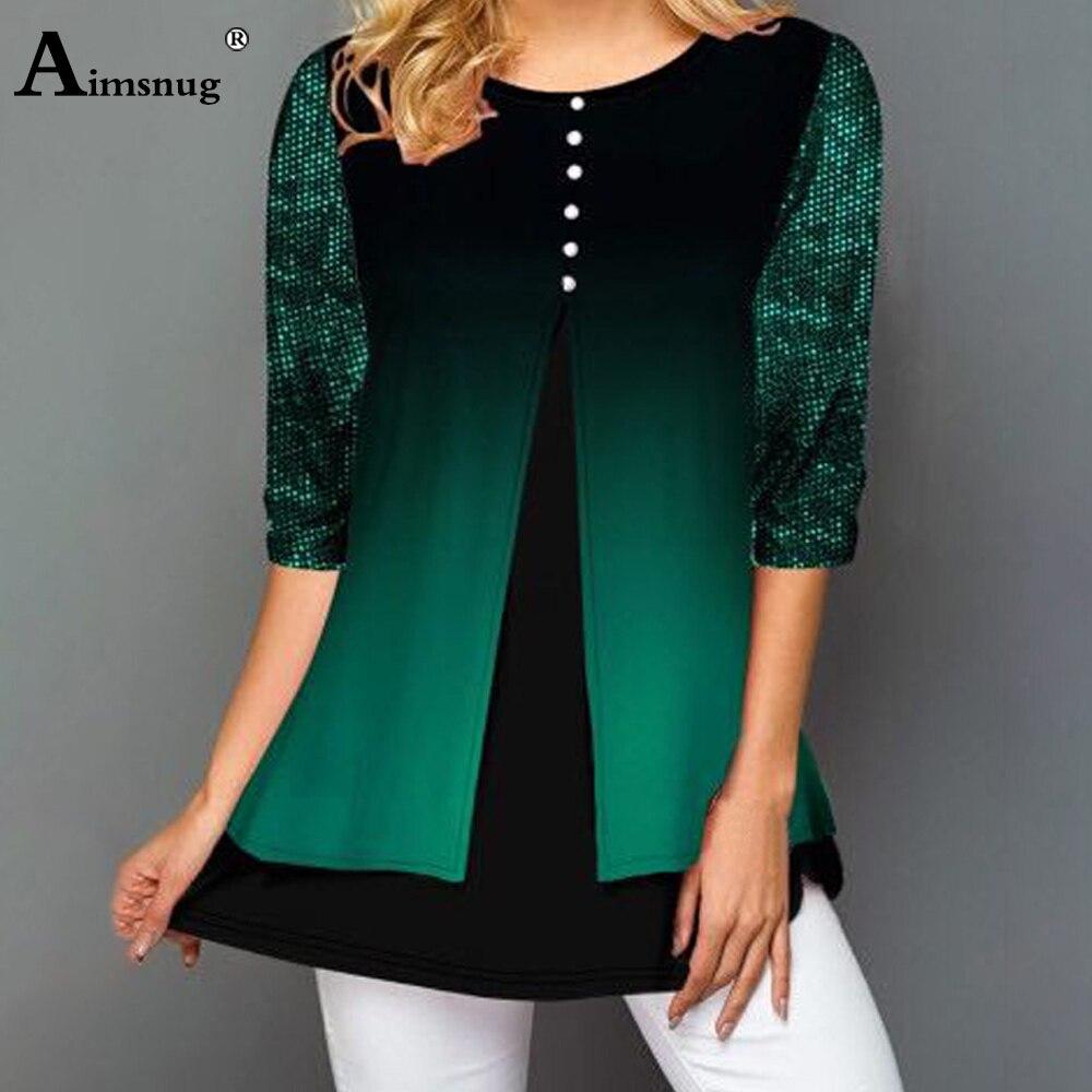 Aimsnug Plus Size 4xl 5xl Women Sequin Tops Double layer T-shirt Female Casual Loose 3/4 Sleeve Tees Summer Green Chiffon Shirts
