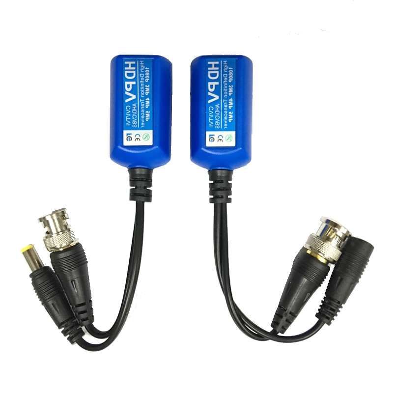 5 Pairs 5MP CCTV Video Balun Coax BNC Video Power Balun Transceiver Connectors to CAT5e 6 RJ45 Connector enlarge