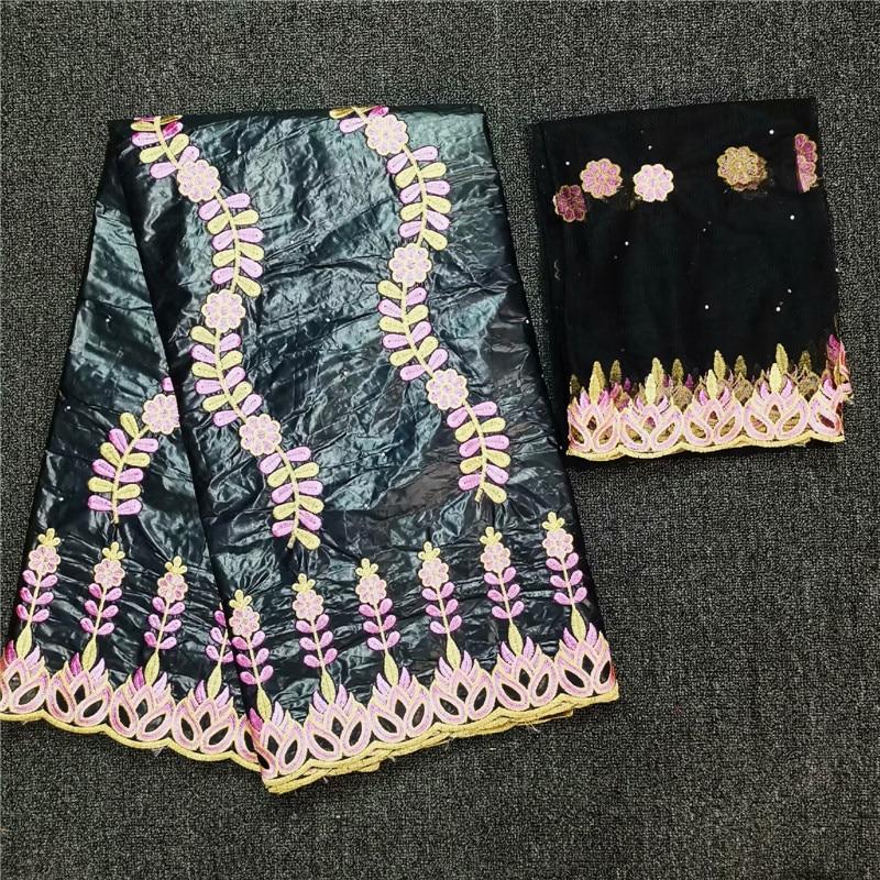 (5 + 2y) Popular tela de ropa negra tela de encaje de algodón bazin africano con 2 yardas de tela de encaje de red francesa NBN80