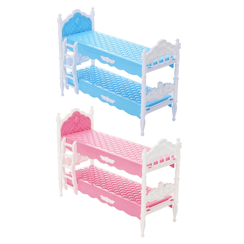 Dollhouse Mini Play House Plastic Bed for Doll Accessories Pretend Bed Detachable Toys for Girls Doll House Toy Bed Accessories