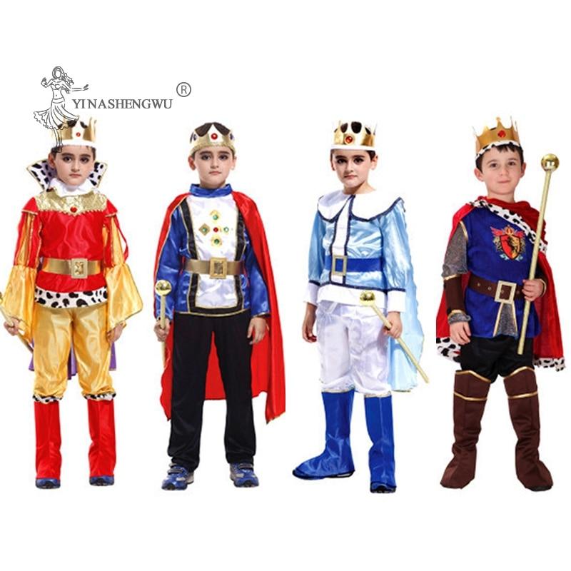Crianças príncipe cosplay rei traje festa de aniversário vestir roupas anime define macacões crianças dia das bruxas carnvial roupas ternos