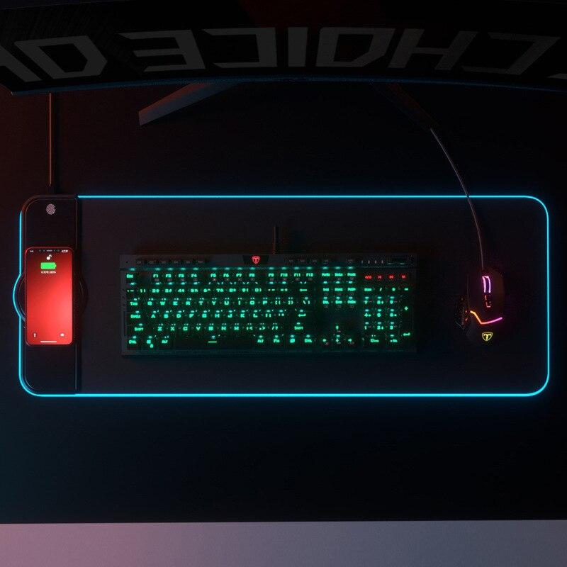 Alfombrilla de ratón de carga inalámbrica, alfombrilla para jugador de RGB luminoso,...
