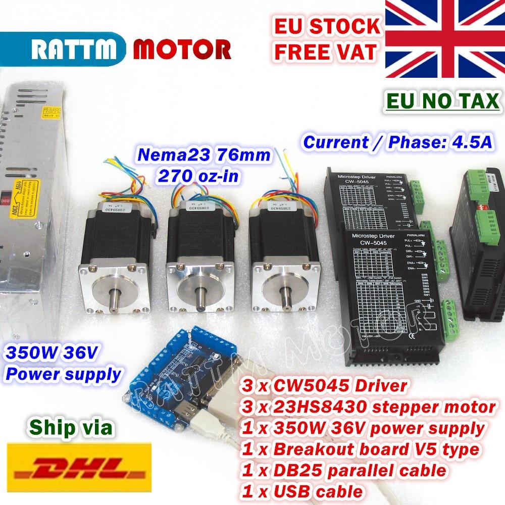 [EU STOCK] 3-Axis Nema23 76mm CNC Controller Kit 270oz-in Stepper Motor+256 microstep 4.5A  CW5040 Driver+350W 36V Power Supply