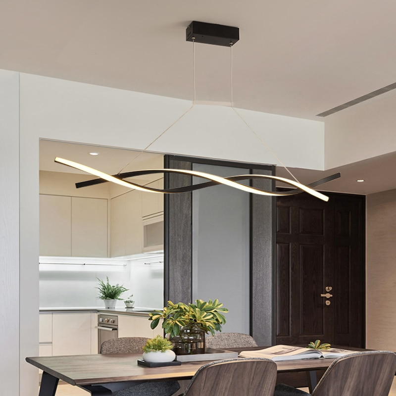مصباح معلق LED بالأبيض والأسود ، حديث ، إضاءة زخرفية داخلية ، مثالي لغرفة الطعام أو المطبخ.