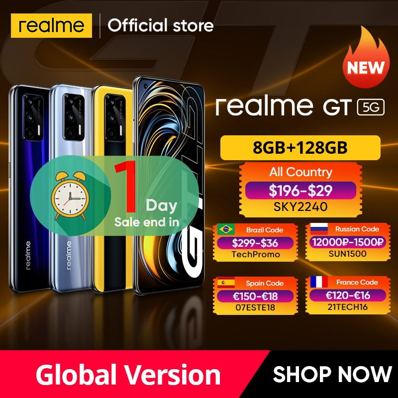 الإصدار العالمي الأول من هاتف ذكي realme GT الإصدار العالمي سنابدراجون 888 65 وات شحن فائق النبال 120 هرتز 6.43 بوصة AMOLED 8 جيجابايت 128 جيجابايت NFC 4500mAh