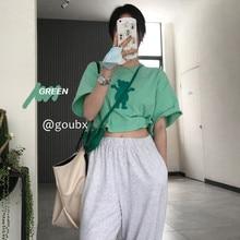 2021summer New Bear Printed Short-Sleeved Top Women's Short and Long Korean Style Loose Popular Bott