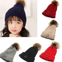 8 colors children knitted hats wool caps casual winter autumn soft elasticity kids caps warm pompom baby cap removable ring cap