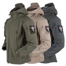 Army Shark Skin Soft Shell Clothes Tactical Windproof Waterproof jacket men Flight Pilot Hood Coat M
