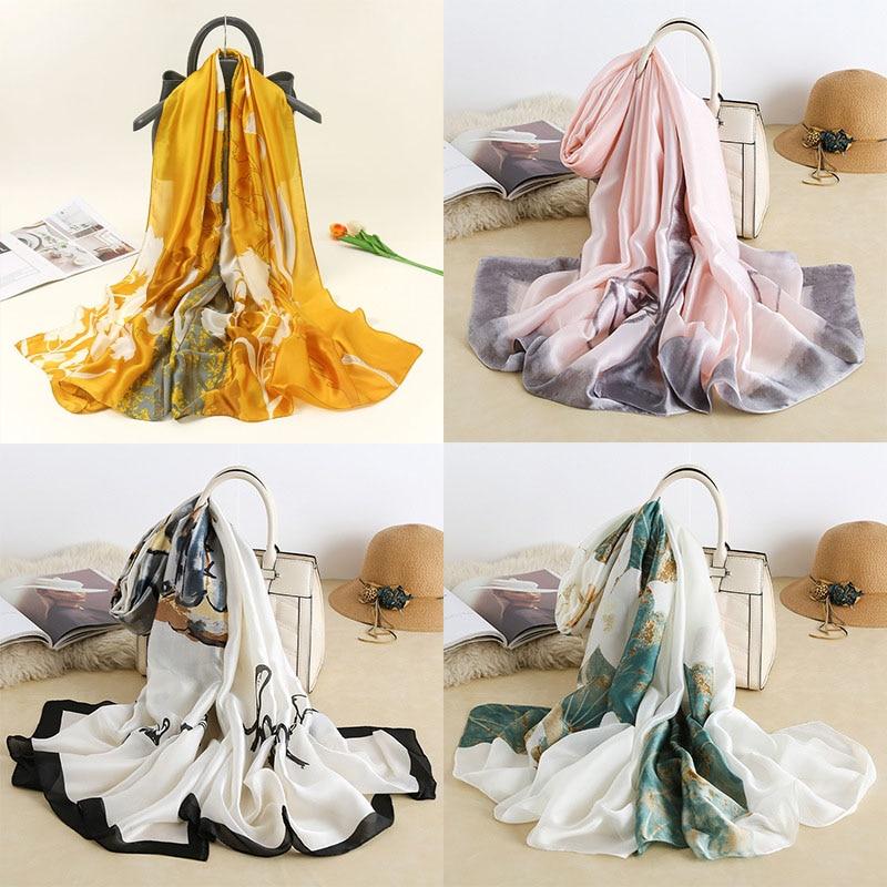180x90cm Women's Faux Silk Scarf Female Floral Versatile Imitation Silk Long Gauze Towel Scarves Spring Summer Beach Sun Shawl